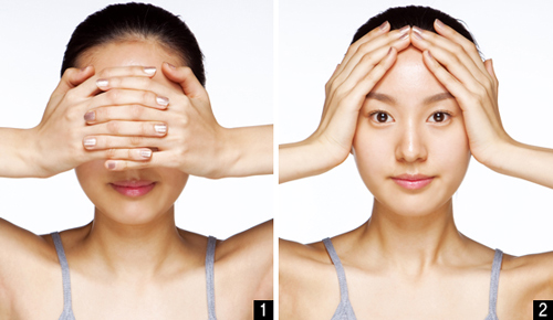 step 4: massage the temporal forehead